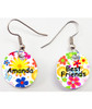 Round circle drop Earrings - Custom Personalized / Add your own Design Great Gift