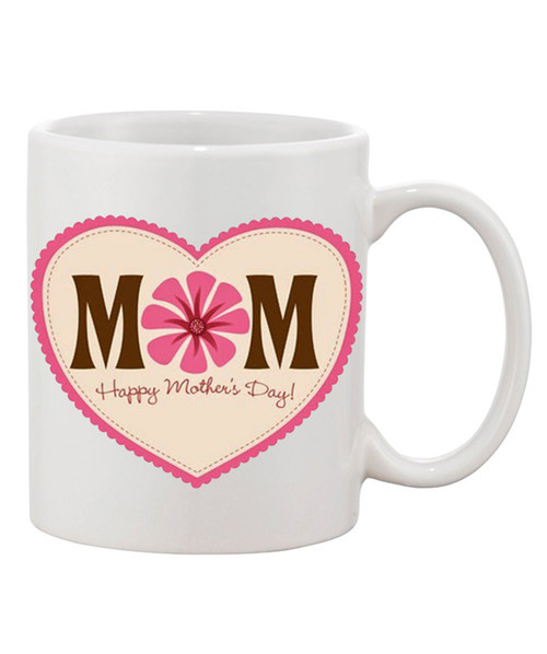 Happy Mother's Day Ceramic Coffee Mug /Mom in Heart of Peach / Pink Background