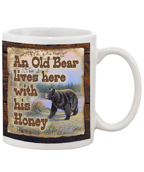 An Old Bear lives here with his Honey / Cute Ceramic Coffee Mug| Great Hubby/Wife Gift