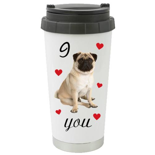 I Pug You Travel Mug / Cute Pug Dog Surrounded by Hearts