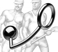 Tom of Finland Stainless Steel Cock Ring with Anal Ball