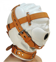 Total Sensory Deprivation White Leather Hood - Medium / Large