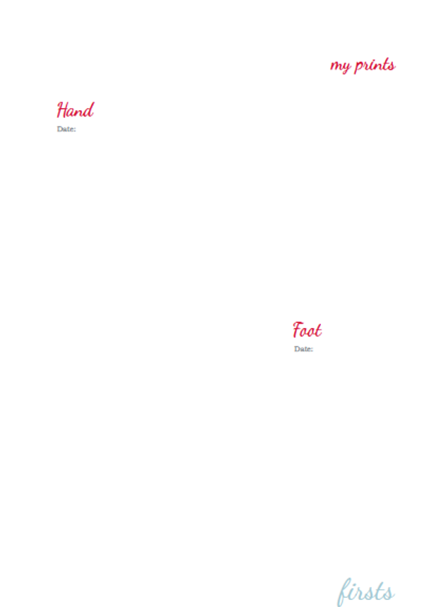 A Book About Me Foot / Hand print page - 2015 Version