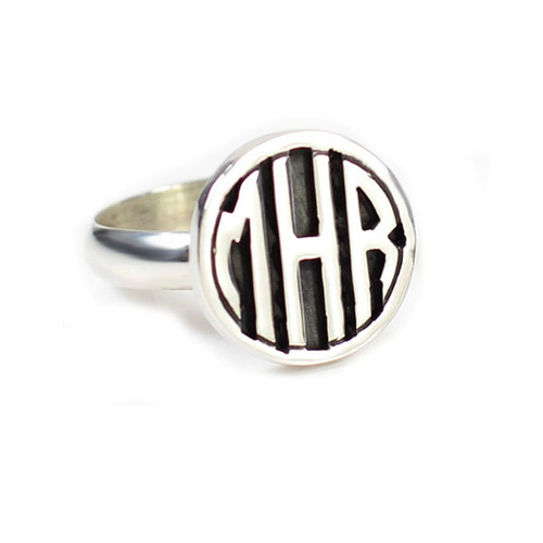 Personalized Silver Round Cutout Block Ring