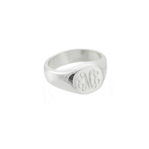 Personalized round signet ring