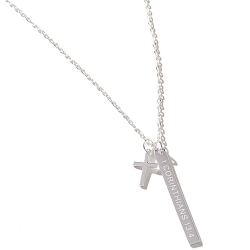 1 Corinthians Silver Bar Necklace
