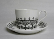 Black and White Ceramic Teacup with Saucer