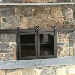 glass fireplace door