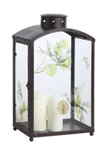 Glass Lantern with Printed Birds