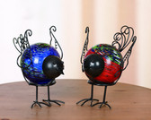 Metal and Glass Bird Figurine - Blue or Red
