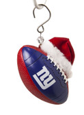 New York Giants Team Ball with Santa Hat Ornament