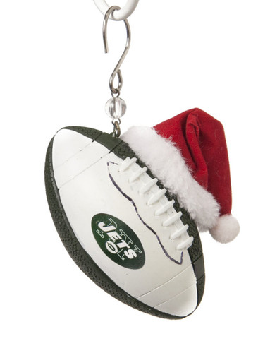 new york jets team ball with santa hat ornament