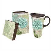 Turquoise Dahlia, Ceramic Perfect Cup, 17 oz.