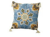 Blue Medallion Pillow with Tassels