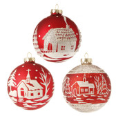 "4"" Glittered Scenic Ball Ornament"