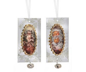 Glass Mirror Santa Ornament