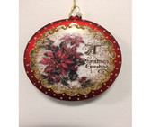 Glass Poinsettia Disc Ornament