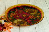 Glass Autumn Floral Platter