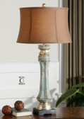 Distressed Blue Green Lamp