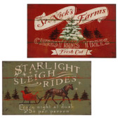 "18"" Tree and Sleigh Wall Art 2 Asst"
