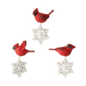 "3.75"" Cardinal with Snowflake Ornament 3 Asst"