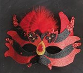 Red and Black Sparkle Mask with Jewel