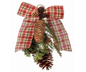 "12"" Burlap Plaid Bow with Cones Ornament"
