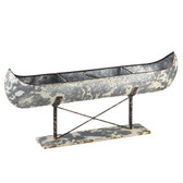 Distressed Canoe on Stand