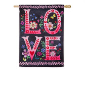 Wildflower Love Chalkboard House Suede Flag