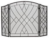 "Black Wrought Iron 3 Fold Arched Screen w Weave Design 34""H x 51.5""W"