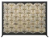 "Black Panel Screen w Antique Gold Fan Design 33""H  x 44""W"