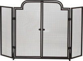 """Black Wrought Iron 3 Fold Arched Screen w Operable Doors 32""""H x 55""""W"""