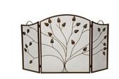 "3 Fold Arched Bronze Screen w Leaf Design 31""H x 52""W"