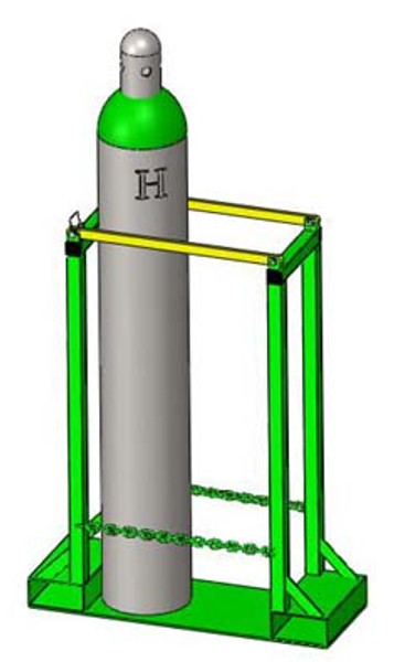 "OXYGEN CYLINDER PALLET RACK HOLDS 2 H OR T (9.25"" DIA.) STYLE CYLINDERS"