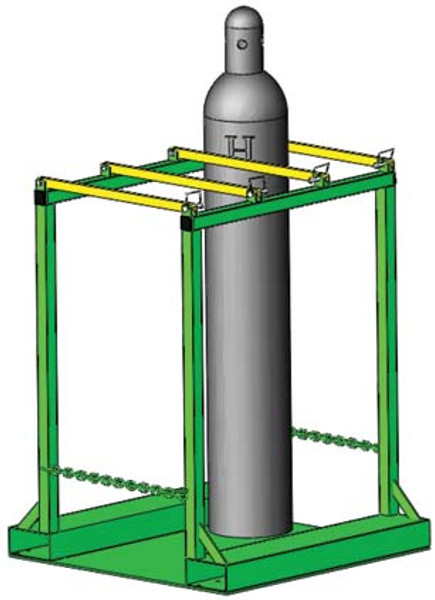 "OXYGEN CYLINDER PALLET RACK HOLDS 6 H OR T (9.25"" DIA.) STYLE CYLINDERS"