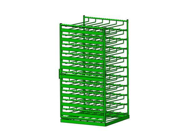 FWF LAYERED HORIZONTAL 140M6 CYLINDER RACK W/DOOR AND FORKLIFT TUBES