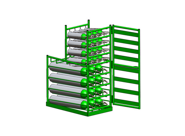 FWF LAYERED MULTI-Cylinder or E Type Cylinder RACK FOR 19 Cylinder or E Type Cylinder (3D-E/16M6)
