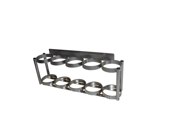 """INLINE OXYGEN CYLINDER WALL MOUNT RACK FOR 5 D OR E (4.38"""" DIA.) OXYGEN CYLINDERS"""