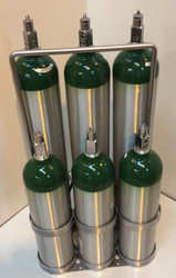 """Oxygen Cylinder Carrier Rack For Six D or E (4.38"""" DIA) Style Oxygen Cylinders (1096)"""