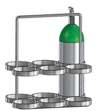"Oxygen Cylinder Rack With Handle for 6 Jumbo D/M22 (5.25"" DIA) Oxygen Cylinders (1136-6H)"
