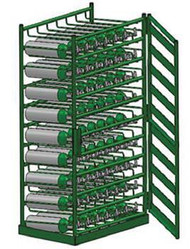 Layered Horizontal Rack with Door for 54 M6 Cylinders (6520D-54)
