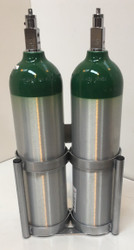 "Inline Oxygen Cylinder Wall Mount Rack for Two D/E  (4.38"" DIA) Cylinders (7503-2)"