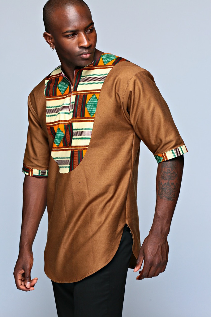 Jabali Men's Top (Brown)