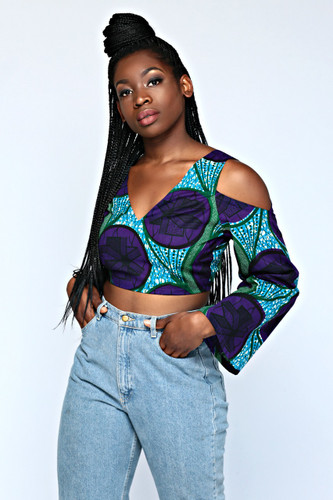 Ankara Cold Shoulder Crop (Purple)