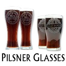 Glass Blasted Home Brewing Glassware - Pilsner Glasses