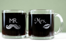 Engraved Glass Coffee Mugs with Classic Mr & Mrs Lips and Mustache Design