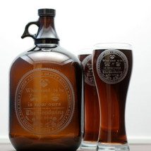 Engraved Gallon Growler and Large Pilsner Glass Set with Custom Newlywed Yours and Mine is now Ours Design