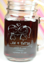 Wedding Mason Jar Mugs Personalized Engraved with Little Kids Couple Theme (Set of 2)