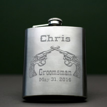 Personalized & Engraved 8oz Stainless Steel Flask with Double Revolver Groomsmen Design (Set of 3)