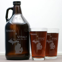 Engraved 64oz Growler & 2 Pint Glass Set with Newlywed State Love Design